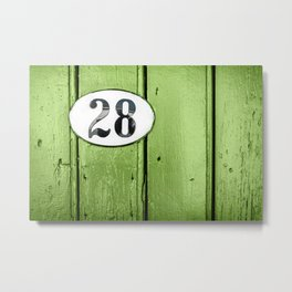 Old green wooden door close-up with house address number 28 Metal Print
