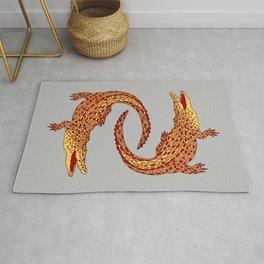 Crocodiles (Terracotta and Gray Palette) Rug