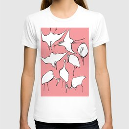 """Hokusai (1760-1849) """"Cranes from Quick Lessons in Simplified Drawing""""(edited) T-shirt"""