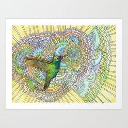 Hummingbird Drawing Meditation Art Print