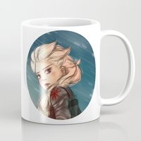 winter soldier Mugs featuring Elsa as a Winter soldier by Thea Yau