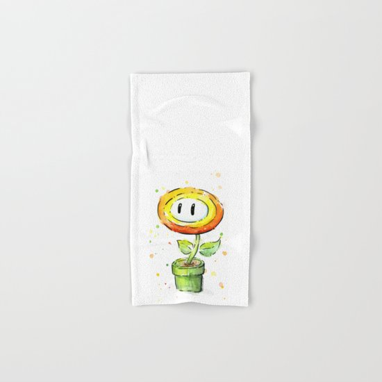 Fire Flower Watercolor Painting Mario Game Geek Art Hand & Bath Towel