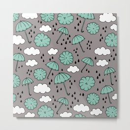 Blue umbrella sky rainy day abstract fall illustration pattern blue Metal Print