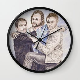 Team Free Will: Misha Collins; Jared Padalecki and Jensen Ackles, watercolor painting Wall Clock