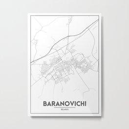 Minimal City Maps - Map Of Baranovichi, Belarus. Metal Print