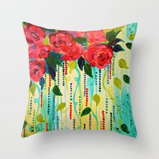 ROSE RAGE Stunning Summer Floral Abstract Flower Bouquet Feminine Pink Turquoise Lime Nature Art Throw Pillow