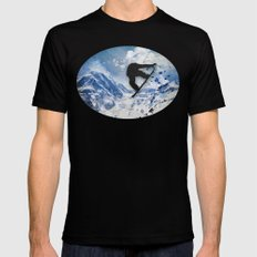 Snowboarder In Flight Black Mens Fitted Tee LARGE