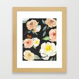 Watercolor Flower Collage on Chalkboard Framed Art Print