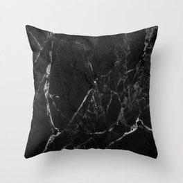 Black Marble Print II Throw Pillow