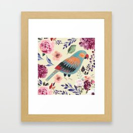 Parrot Art Floral Watercolor Painting Framed Art Print