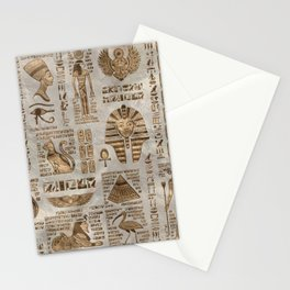 Egyptian hieroglyphs and deities -Vintage Gold Stationery Cards