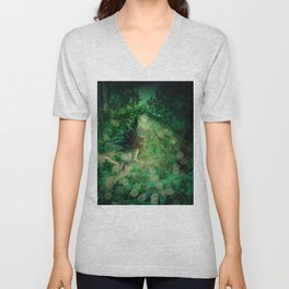 Abstract illustration of fairy fly in the forest Unisex V-Neck