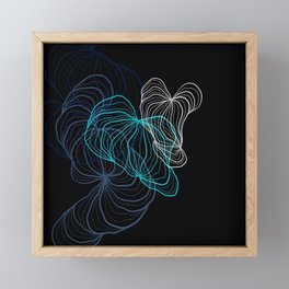 Gray, blue and white / digital drawing Framed Mini Art Print