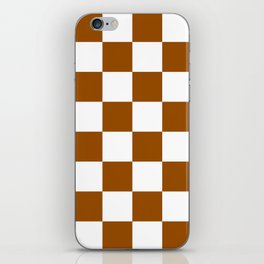Large Checkered - White and Brown iPhone Skin