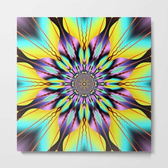 Fantasy sunflower with wavy rays and patterns Metal Print