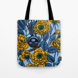 Wren in the roses Tote Bag