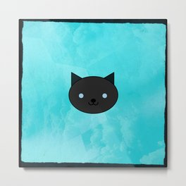 Dragonfly - Kawaii Black Cat Blue Eyes Metal Print
