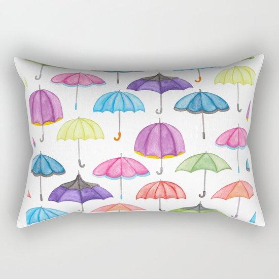 Rainy Day Umbrellas Rectangular Pillow