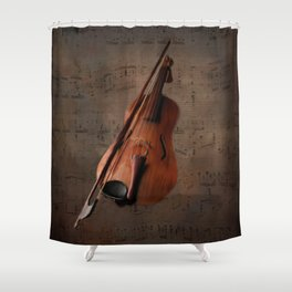Painting Vintage Violin Shower Curtain