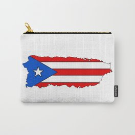Puerto Rico Map with Puerto Rican Flag Carry-All Pouch