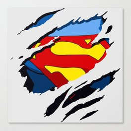 superhero torn - SuperMan Canvas Print