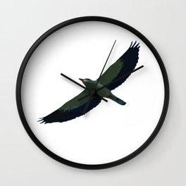 European Roller In Flight Silhouette Vector Wall Clock
