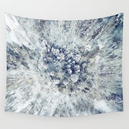 AERIAL. Frozen forest in winter Wall Tapestry
