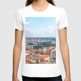 Prague Cityscape | Red Rooftop Old World Bridge Majestic European City Landscape Photograph T-shirt