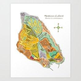 Mackinac Island Illustrated Map Art Print