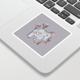 Elephant with Cherry Blossoms Sticker