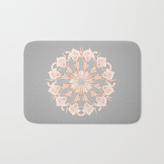 Rose Gold Gray Lilies Mandala Bath Mat