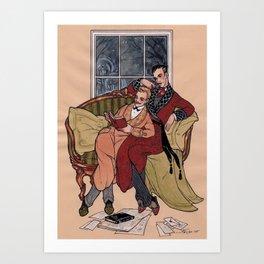 Watson and Holmes at Home Art Print