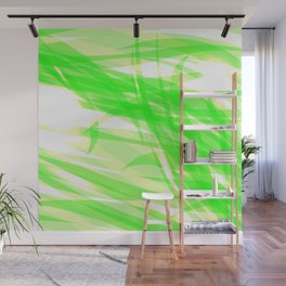 Green and smooth sparkling lines of light green ribbons on the theme of space and abstraction. Wall Mural