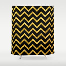 Art Deco Glitter-Gold Zigzag Lines on Black Pattern Shower Curtain