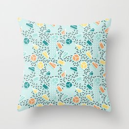 Modern teal orange black geometrical shapes confetti pattern Throw Pillow
