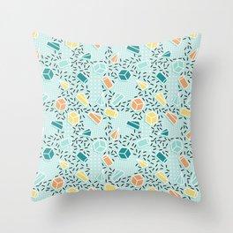 Modern teal orange black geometrical shapes confetti pattern Throw Pillow