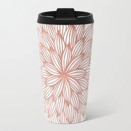 Mandala Flowery Rose Gold on White Travel Mug