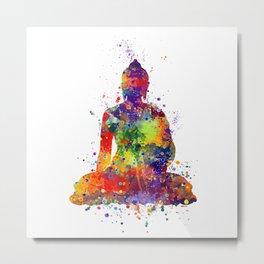 Buddha Watercolor Yoga Poster Zen decor Metal Print