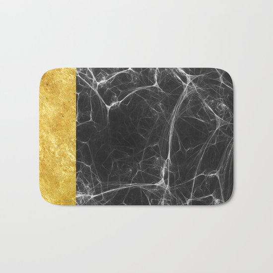 Black Marble and Gold Bath Mat