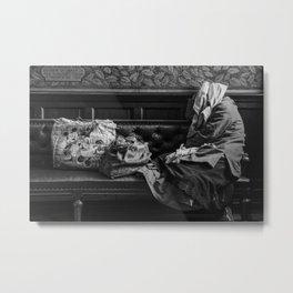 Bag lady in Edinburgh Portrait Gallery Metal Print