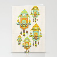 wall clock Stationery Cards featuring Clock Wall by Leanne Oughton
