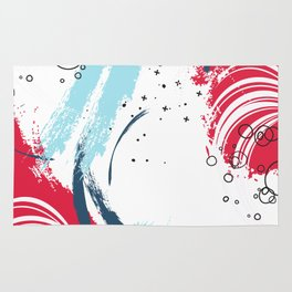 Red blue paint Rug