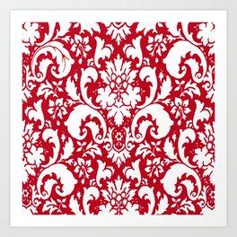 Paisley Damask Red and White Pattern Art Print