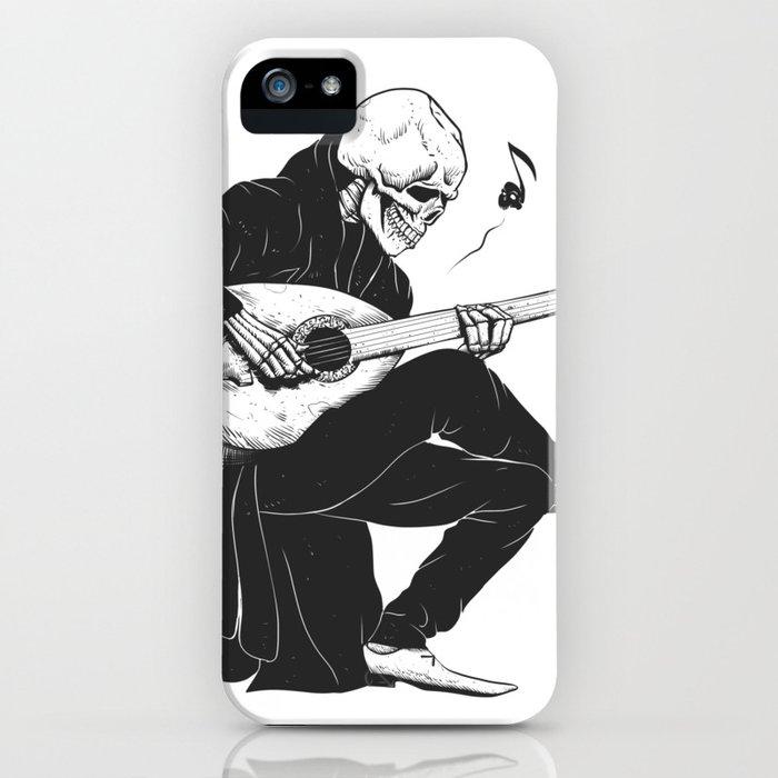 minstrel playing guitar,grim reaper musician cartoon,gothic skull,medieval skeleton,death poet illus iphone case