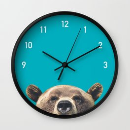 Bear Numbers Clock Blue Wall Clock