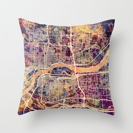 Quad Cities Street Map Throw Pillow