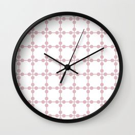 Droplets Pattern - White & Dusky Pink Wall Clock