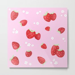 Strawberry Blossom Pattern Metal Print