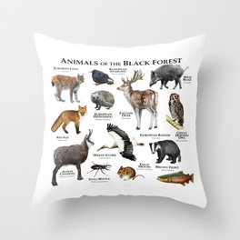 Animals of the Black Forest Throw Pillow