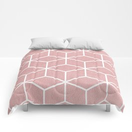 Blush Pink and White - Geometric Textured Cube Design Comforters